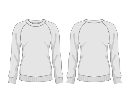 raglan: Woman sweatshirt. Vector template