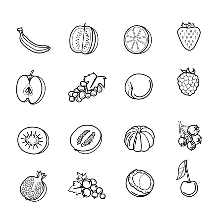 half apple: Fruits and berries vector black icon set