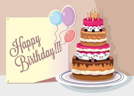 birthday cupcakes: Vector flat birthday illustration