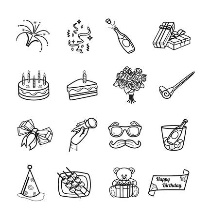 birthday gift: Vector birthday black icons set Illustration