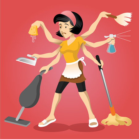 domestic chore: Housewife vector flat illustration Illustration