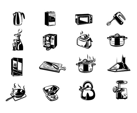 household goods: Kitchen items vector icons black set