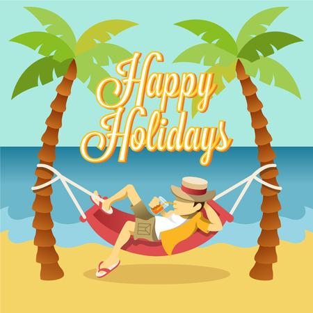 hamaca: Vector apartamento de vacaciones bandera