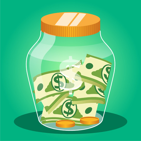 Money jar. Vector flat illustration