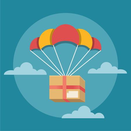 airborne: Delivery box. Vector flat illustration Illustration