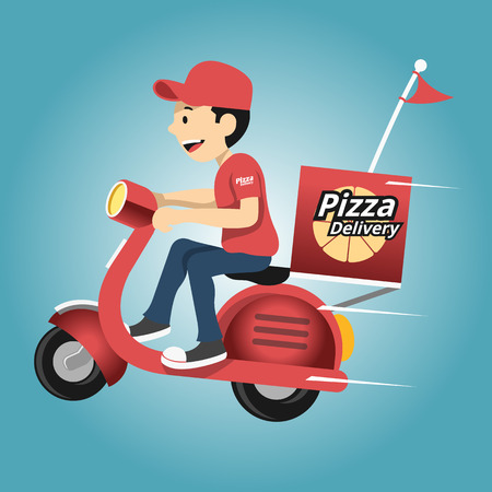 motor scooter: Delivery man. Vector illustration