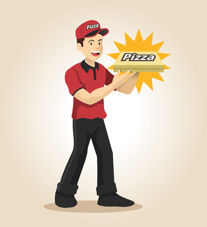 pizza delivery: Delivery man. Vector flat illustration