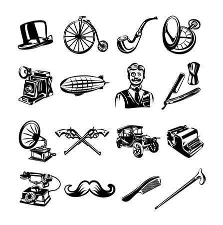 bycicle: Vector retro black icon set
