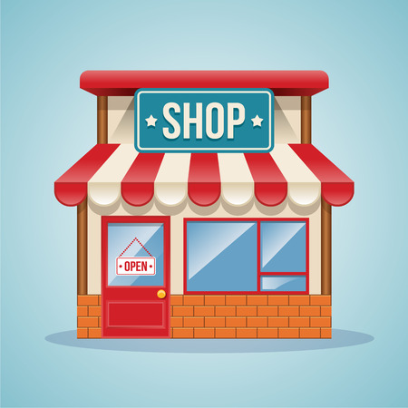 small town: Shop vector illustration
