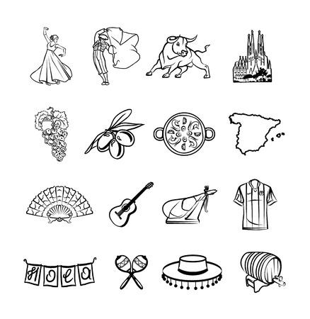 Spagna nero set di icone Archivio Fotografico - 36241123