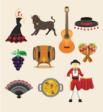 Spain vector flat icon set Stock Illustratie