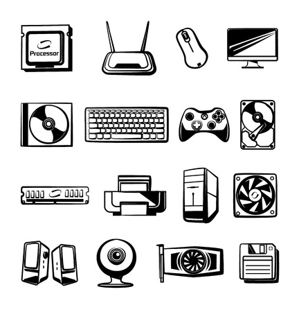 chipset: Vector hardware icons set. Modern stylish black graphic design elements,  illustrations, signs, pictograms, outlines, silhouettes. Isolated on white background