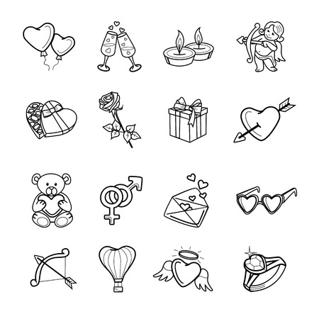 Valentijnsdag vector zwarte icon set Stock Illustratie