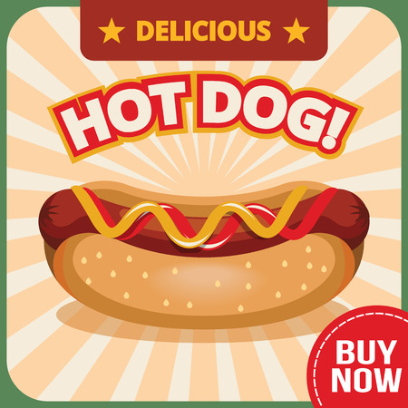 hot: Vector hot dog banner