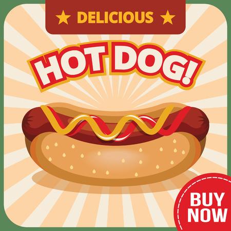 perro caliente: Vector perro caliente bandera