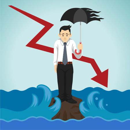 unfortunate: Vector loser businessman illustration Illustration