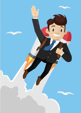 new job: Super businessman. Vector illustration Illustration