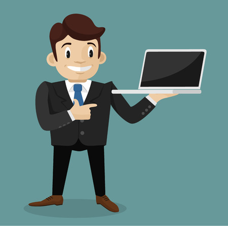 laptop vector: Man with laptop. Vector flat illustration Illustration