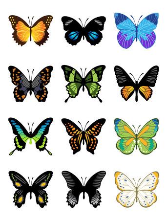 Vector vlinders icon set Stock Illustratie