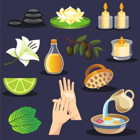 beauty therapist: Vector spa icon set