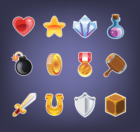 Computer game icon set Illustration