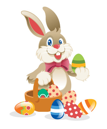 cartoon easter basket: Easter Rabbit. Vector illustration