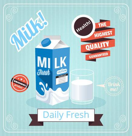 caja de leche: Vector leche bandera