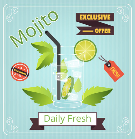 Mojito vector banner Illustration