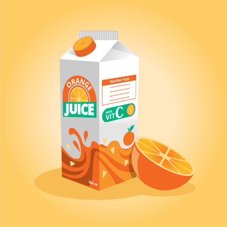 Vector orange juice illustration Stock Illustratie