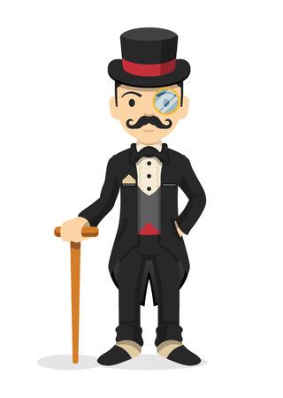 Retro dżentelmenem. Ilustracji wektorowych