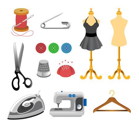 maquina de coser: Vector icon set de costura Vectores