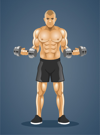 steroids: Bodybuilder. Vector illustration