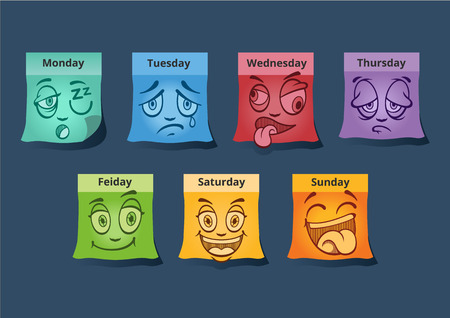 thursday: Stickers with face. Vector set