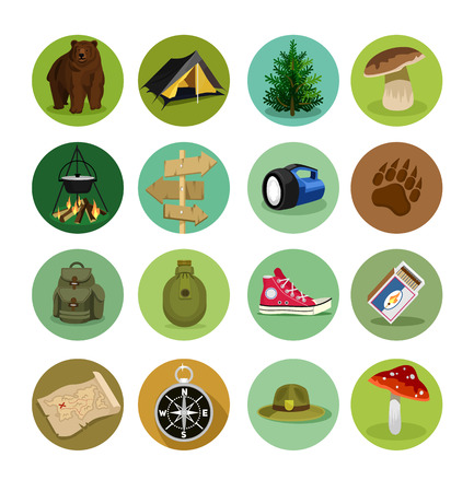 scouts: Vector camping flat icon set