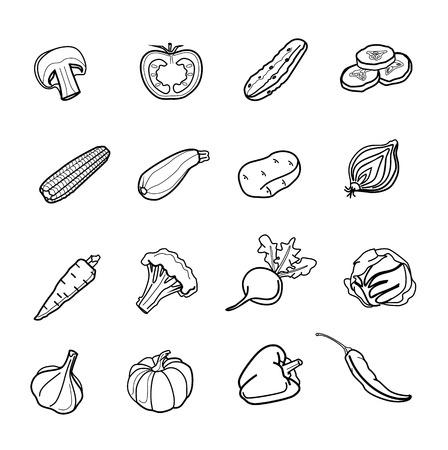 black pictogram: Vector vegetables icon set