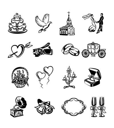 drow: Vector wedding black icon set Illustration