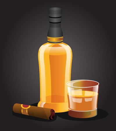 whisky glass: Vector whiskey illustration Illustration