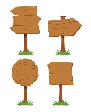Vector wooden board set Illustration