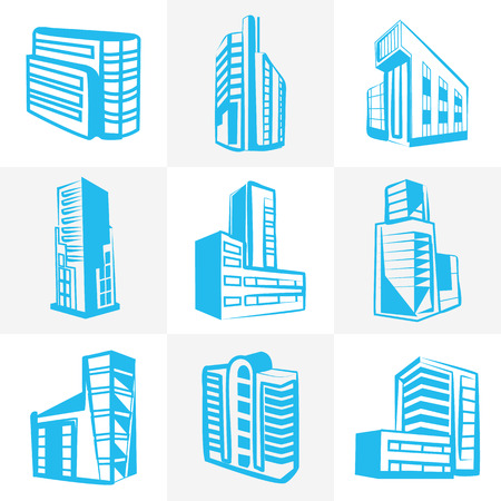 extraordinary: Vector extraordinary buildings icons set