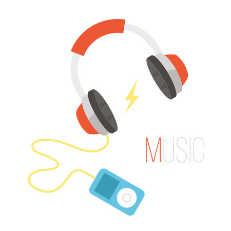 portable audio: Black and red headphones and portable audio player vector illustration Illustration