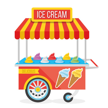 seller: Shiny colorful ice cream cart vector illustration