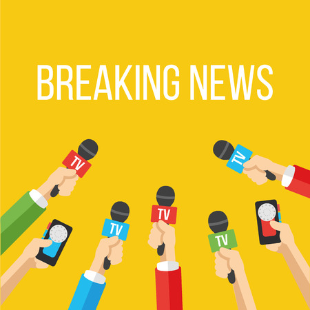 press conference: Breaking news flat style vector illustration