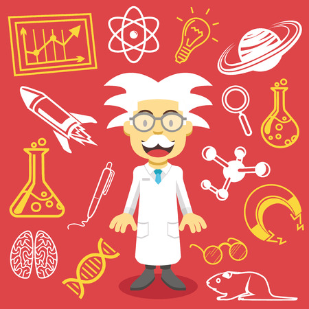 Vector professor and science icons vector illustration