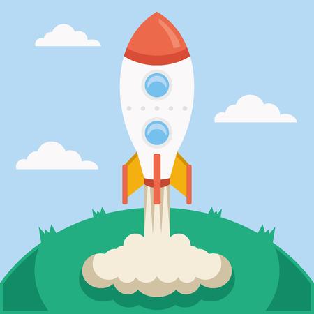 fly cartoon: Vector rocket launch vector illustration