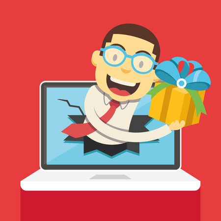 giving gift: Man from laptop giving gift box vector illustration