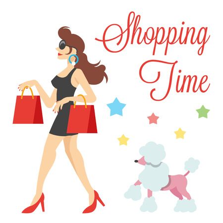 go shopping: Elegant cute women with shopping bags and poodle vector illustration Illustration