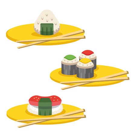 egg roll: Sushi sets vector illustration