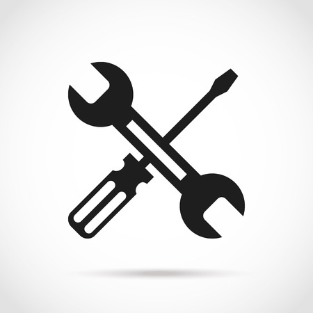 Crossed black and white wrench and screwdriver design elements Illustration