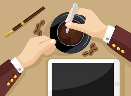 Coffee break vector flat illustration Illusztráció
