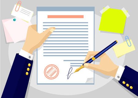business contract: Vector agreement flat illustration